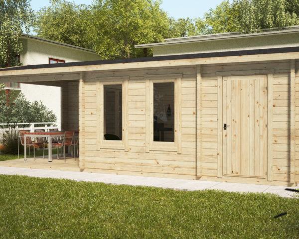 Caseta de jardín Super Nora con porche y trastero 15 m2 / 8 x 3 m / 44 mm