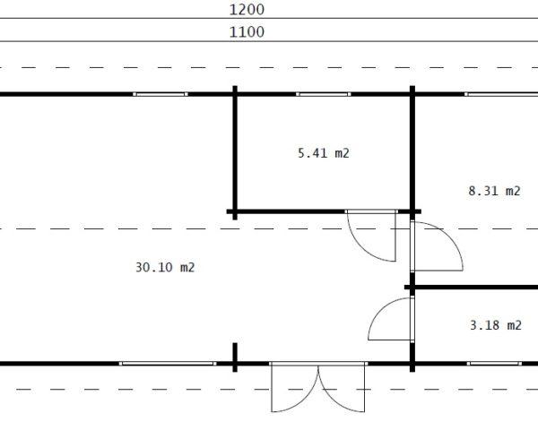 Casa de madera con dos dormitorios Murcia 47 m2 / 11 x 4 m / 70 mm