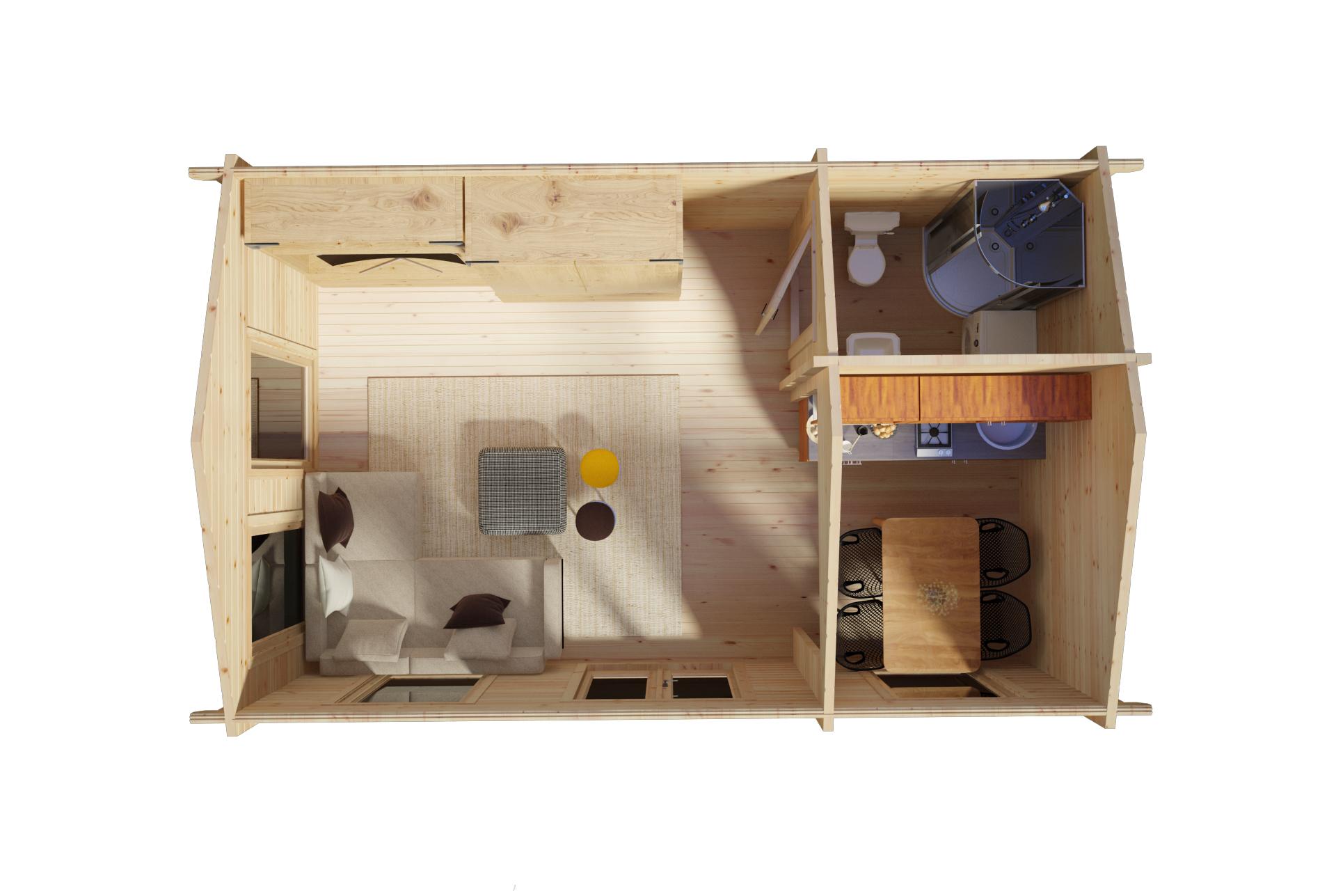 Caseta de madera con baño Sweden A
