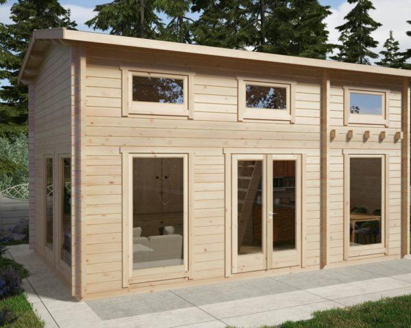 Caseta de madera con altillo Sweden B  / 30 m2 / 6 x 4 m / 70 mm