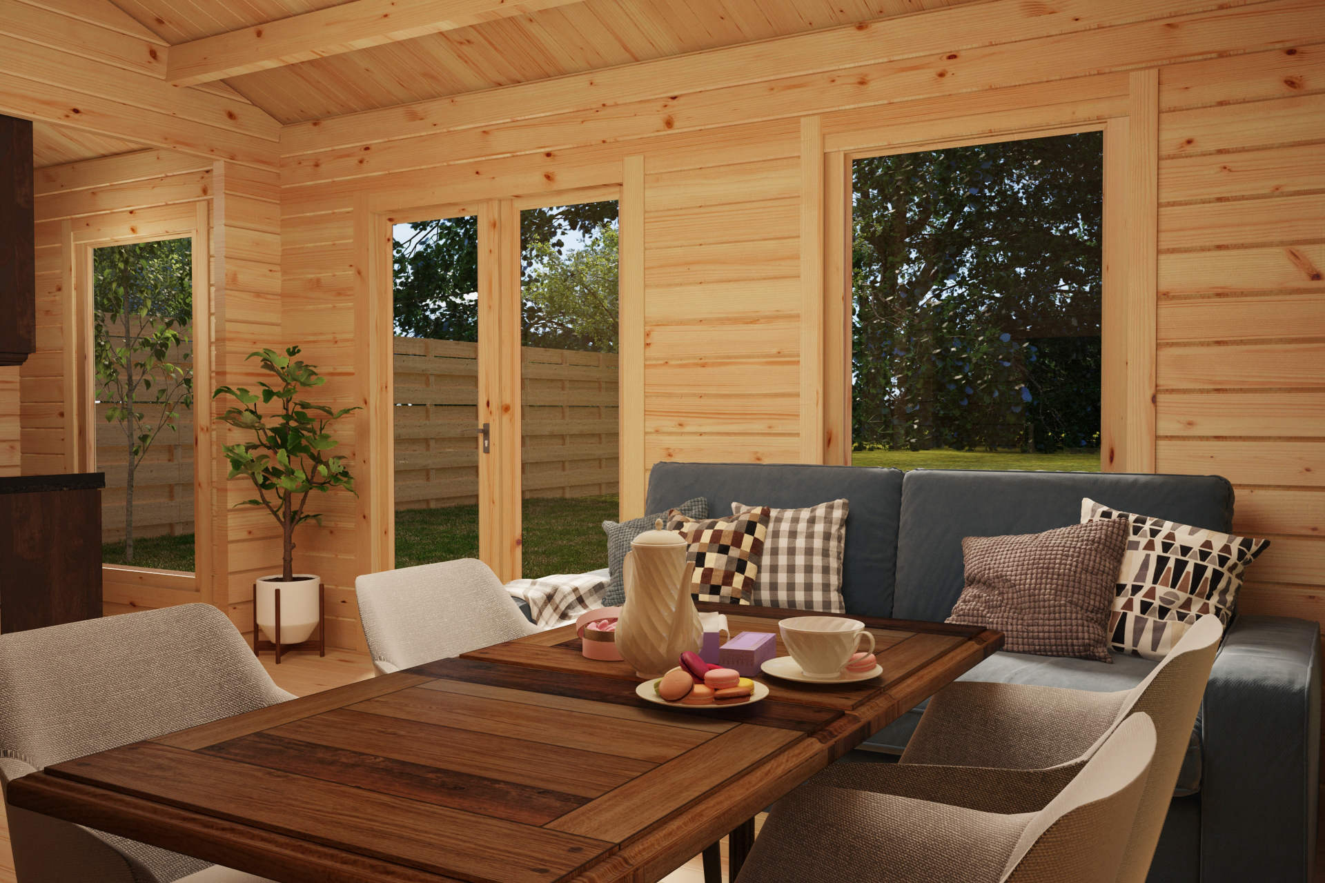Log Cabin with One Bedroom Sweden C 22m2 / 6 x 4 m / 70