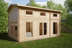 Log Cabin with One Bedroom and Sleeping Loft Sweden D 30m2 / 6 x 4 m / 70