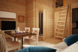 Casa de madera Sweden D con un dormitorio y altillo  / 30 m2 / 6 x 4 m / 70 mm
