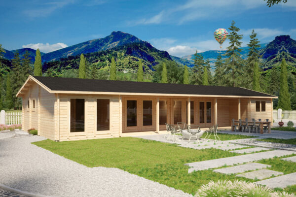 Casa de madera con tres dormitorios Holiday L 92 mm / 96 m² / 7 x 18 m