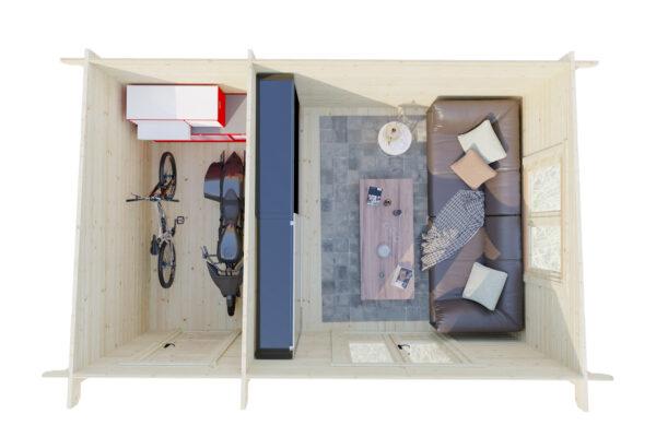 Caseta de jardín y trastero combinados Super Tom DS planta 2
