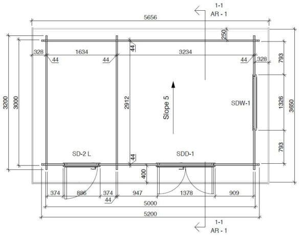 Caseta de jardín y trastero combinados Super Tom DS planta